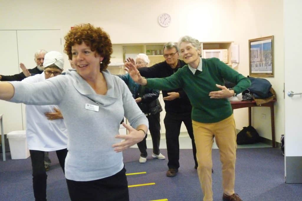 Rosalind and Barbara exercising at Northern Community Services