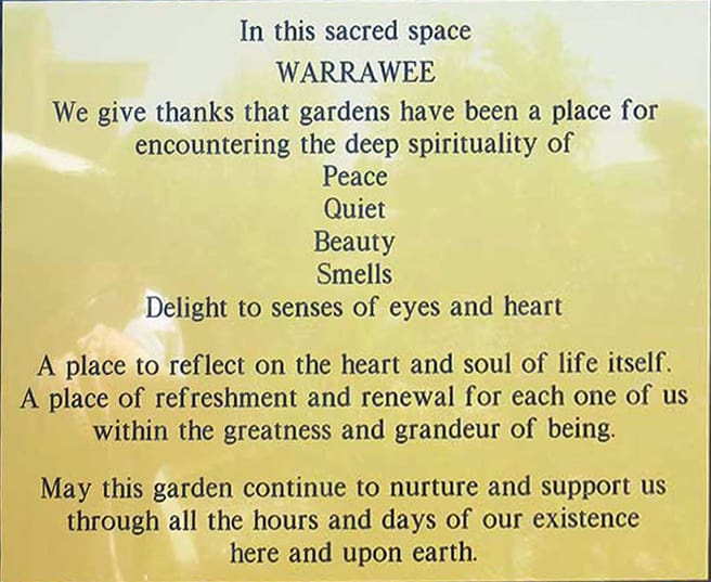 Blessing of the Warrawee gardens - plaque