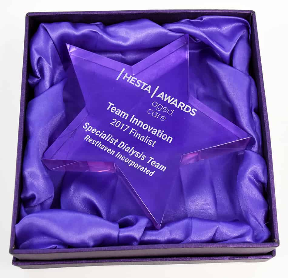 2017 HESTA Aged Care award finalist trophy awarded to Resthaven