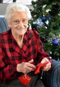 Mrs Bruna Zoanetti with knitting