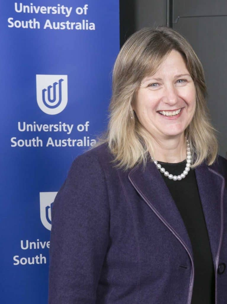UniSA Scholarship ceremony -Wendy Morey with UniSA background