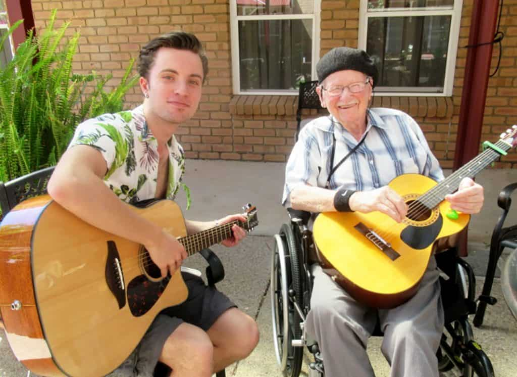 Resthaven Murray Bridge resident learns guitar from grandson
