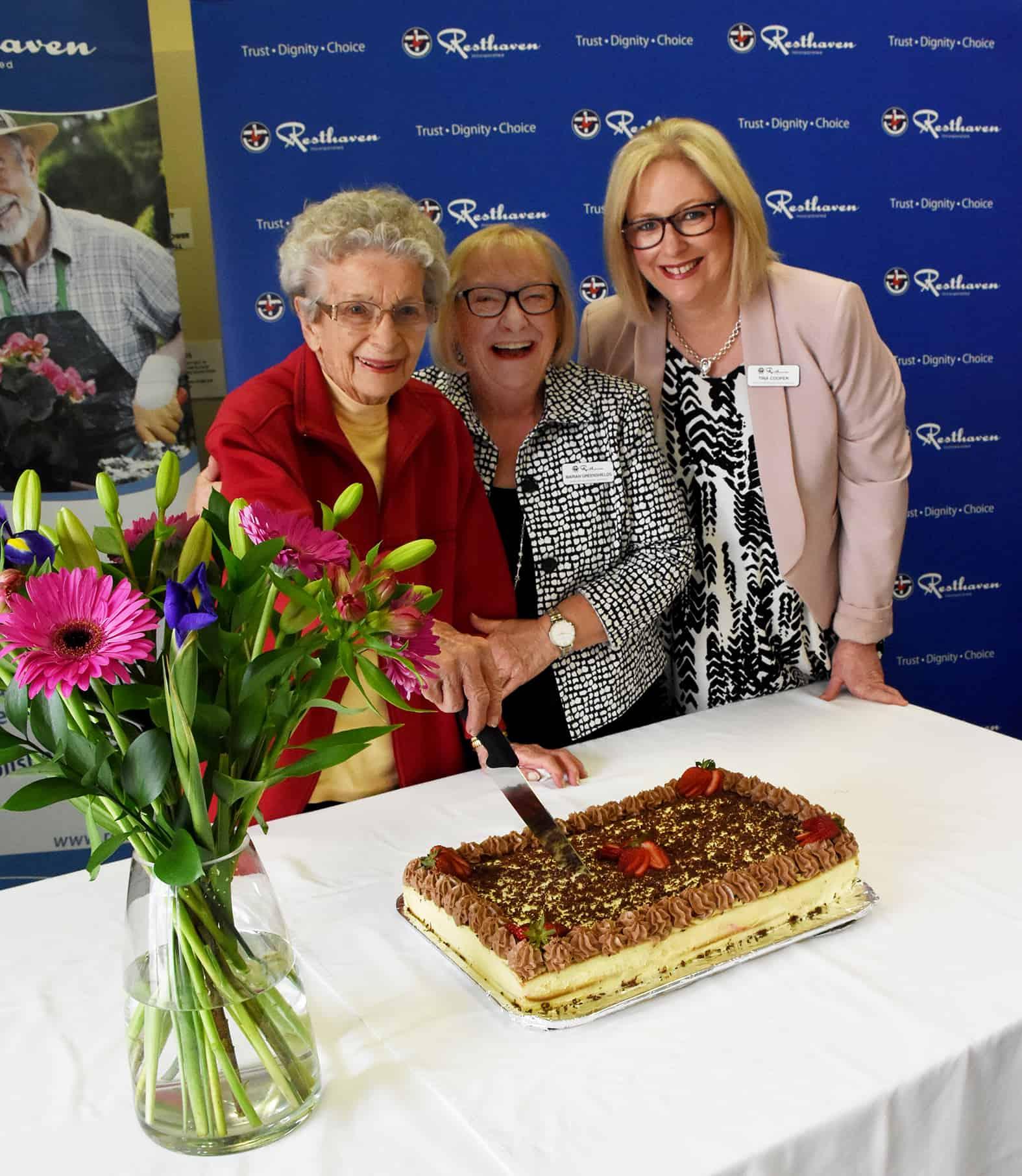 Mrs Audrey Rice, Marian Greenshields, Tina Cooper