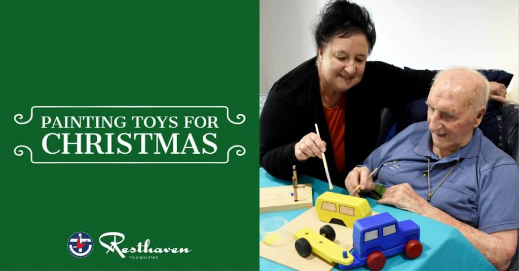 Resthaven resident paints toys for children this Christmas