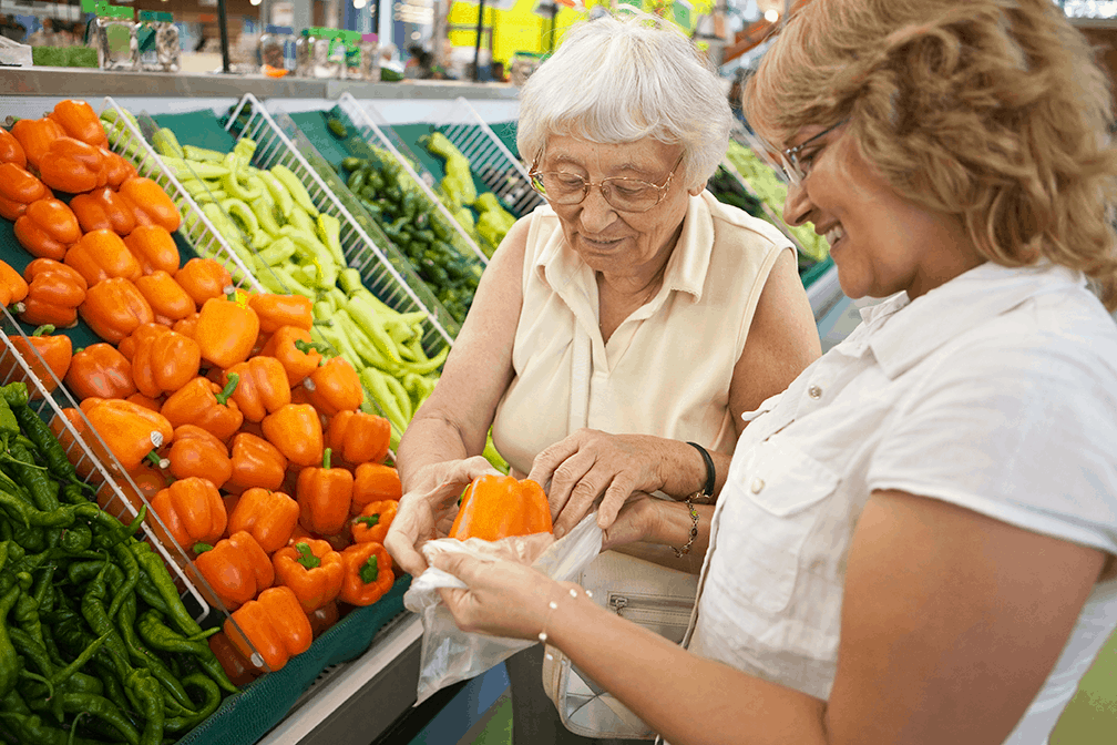 Elderly lady shopping with middle aged woman