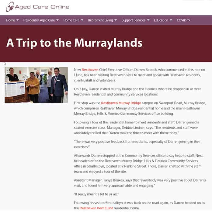 A trip to the Murraylands news snapshot