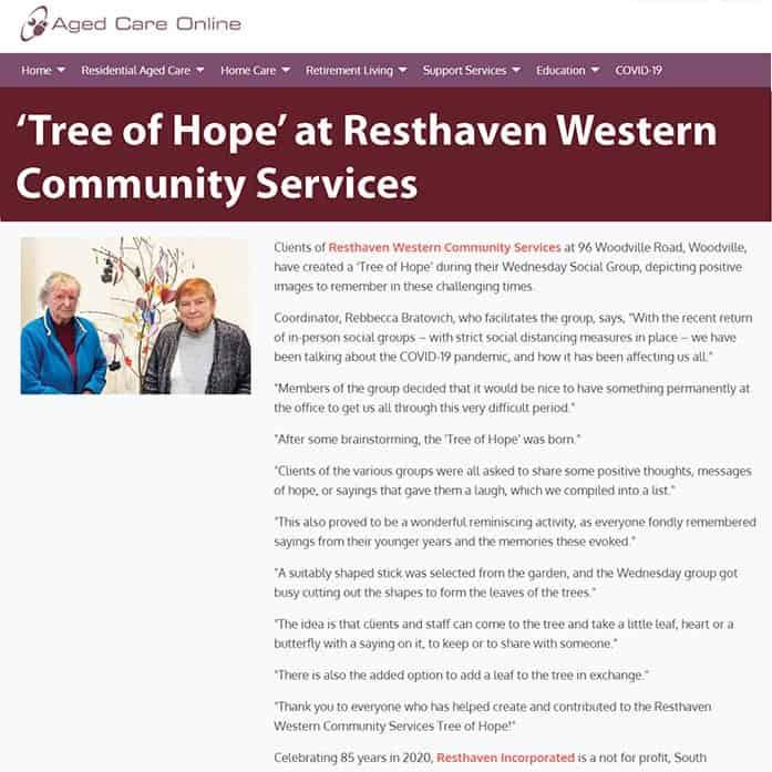 snapshot of news webpage
