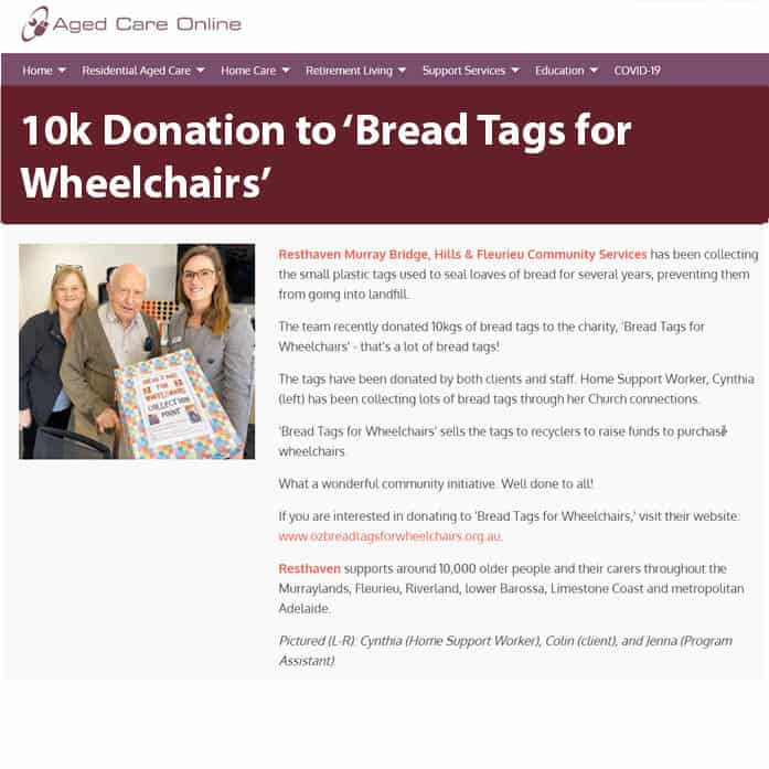 10kg Donation to Bread Tags for Wheelchairs