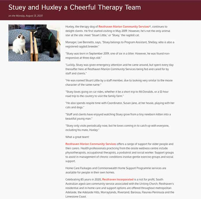 Snapshot of Stuey and Huxley's story on Aged Care Online website