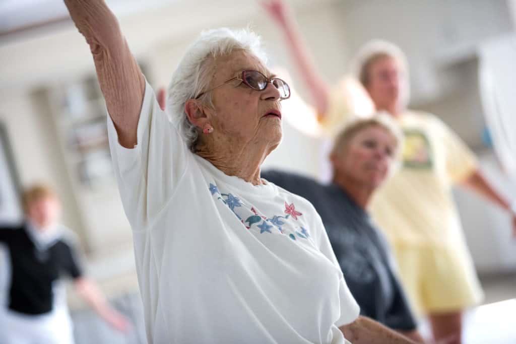Photo of elderly women stretching