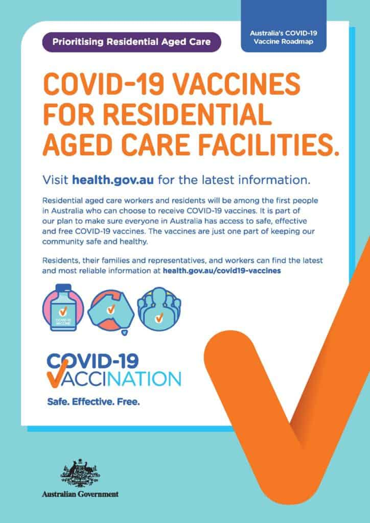 Poster with link to webpage with information about COVID-19 vaccines for residential aged care facilities