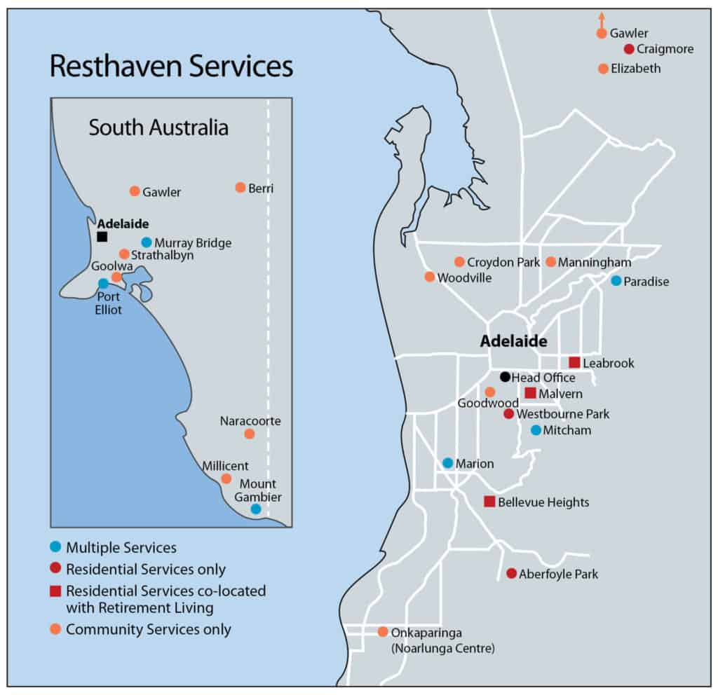 Resthaven branches map