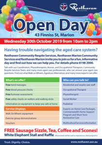Download the flyer for the Resthaven Marion Community Services Open Day