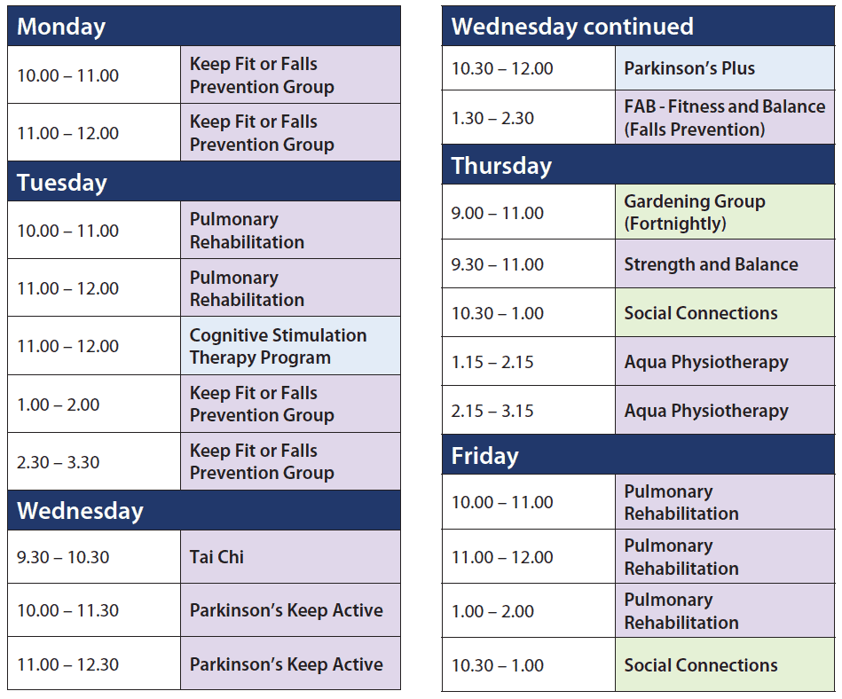 Health and Wellness timetable for Resthaven Northern Community Services