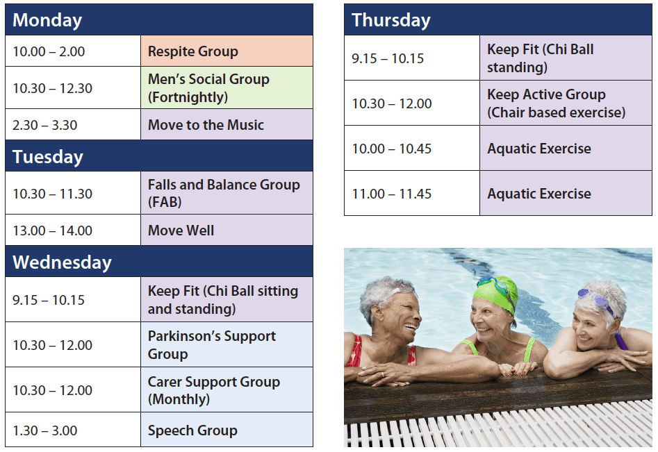 Download the Health and Wellness timetable for Resthaven Paradise and Eastern Community Services