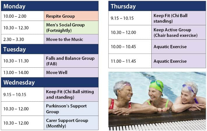 Paradise Health and wellness group timetable
