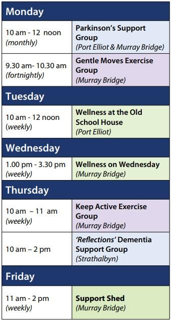 Resthaven Community Services Murray Bridge Group Program timetable