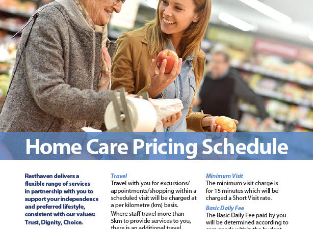 Resthaven Home Care Pricing Schedule